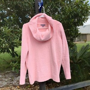 Laura Scott Pretty in Pink Cowl Neck Sweater